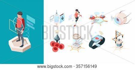 Modern Medicine. Nanotechnology Future Systems Nanorobots Bio Organ Vector Isometric Set. Future Sci