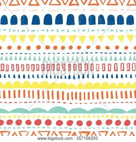 Seamless Background Colorful Doodle Scribble Shapes. Kids Pattern. Horizontal Rows Of Wonky Stripes,