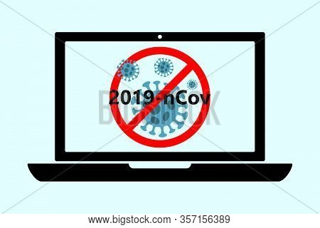 Flat Black Laptop Icon With Abstract Virus Strain Model Novel Coronavirus 2019-ncov Is Crossed Out W