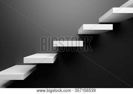 Ascending White Stairs Of Rising Staircase Going Upward In Black Empty Room, Black Abstract 3d Illus