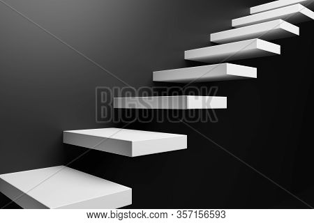 Ascending White Stairs Of Rising Staircase Going Upward In Black Empty Room, Abstract Black 3d Illus