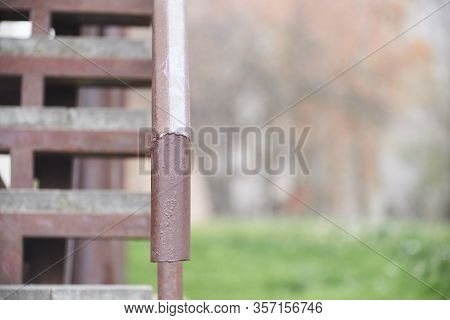 Iron Brown Handle Railing Stairs Railing, Up
