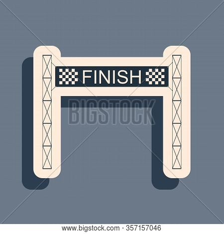 Black Ribbon In Finishing Line Icon Isolated On Grey Background. Symbol Of Finish Line. Sport Symbol