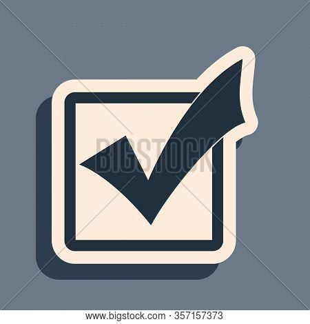 Black Check Mark In A Box Icon Isolated On Grey Background. Tick Symbol. Check List Button Sign. Lon