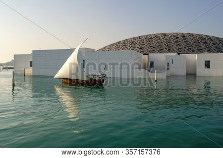 Abu Dhabi / Uae - January 3, 2019: Louvre Museum In Abu Dhabi. View Of Beautiful Louvre Exterior Wit