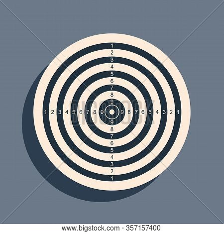 Black Target Sport For Shooting Competition Icon Isolated On Grey Background. Clean Target With Numb
