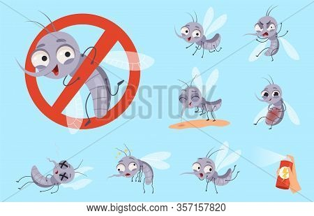 Dangerous Mosquito. Bugs And Warning Flyings Animals Mosquito Aid Vector Cartoon Set. Mosquito Bug I