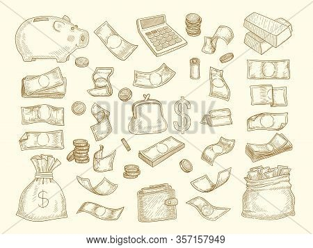 Finance Doodle. Money And Business Elements Corporate Objects Coins Dollars Charts Moneybox Vector I