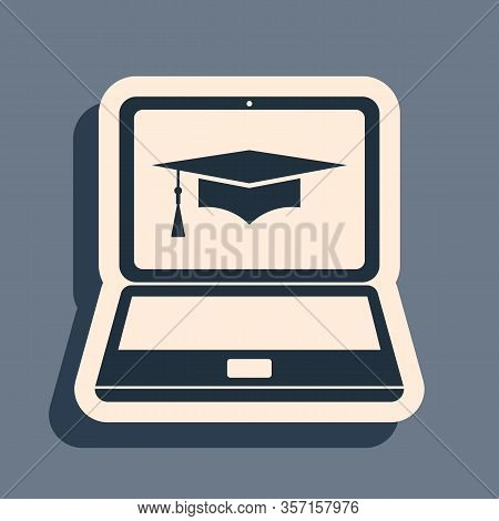 Black Graduation Cap And Laptop Icon. Online Learning Or E-learning Concept Icon Isolated On Grey Ba