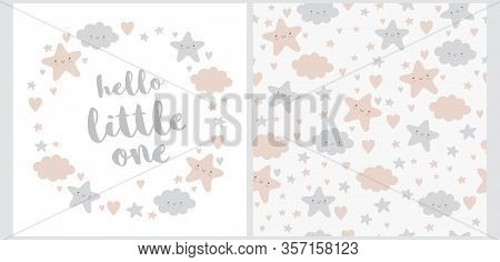Hello Little One. Lovely Baby Shower Illustration And Seamless Vector Pattern. Wreath Made Of Cute S