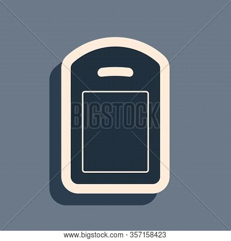 Black Cutting Board Icon Isolated On Grey Background. Chopping Board Symbol. Long Shadow Style. Vect