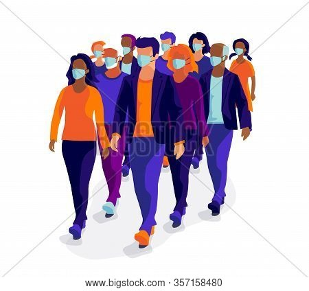 Group Of People Wearing Protective Medical Face Mask Virus Pollution Protection.