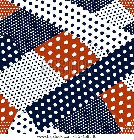 Polka Dots Abstract Seamless. Patchwork Motifs Pattern. Red, Blue, White Color Background. Idea For