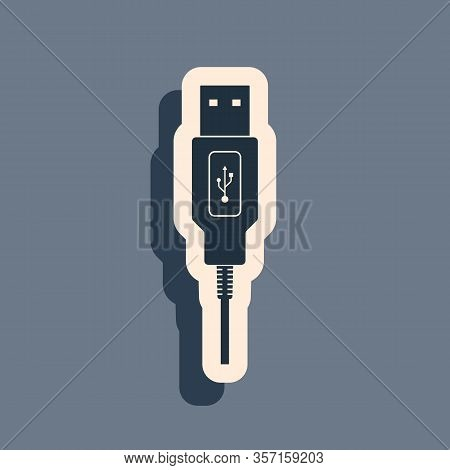 Black Usb Cable Cord Icon On Grey Background. Connectors And Sockets For Pc And Mobile Devices. Comp