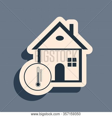 Black House Temperature Icon Isolated On Grey Background. Thermometer Icon. Long Shadow Style. Vecto