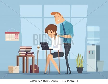 Office Harassment. Sexual Molestation On Workplace. Leader And Female Worker, Management Vector Illu