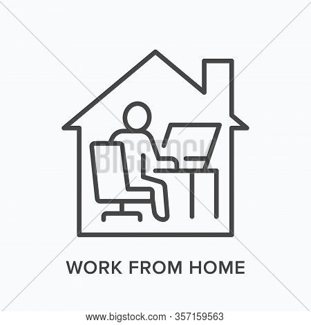 Man Working On Computer From Home Line Icon. Freelance Work, Online Education Vector Illustration. P