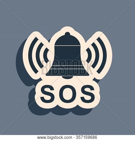Black Alarm Bell And Sos Lettering Icon Isolated On Grey Background. Warning Bell, Help Sign. Emerge