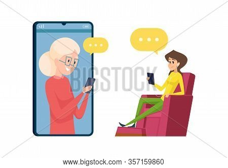 Video Call To Parents. Daughter And Mother Talking Phone. Happy Grandmother And Granddaughter, Elder