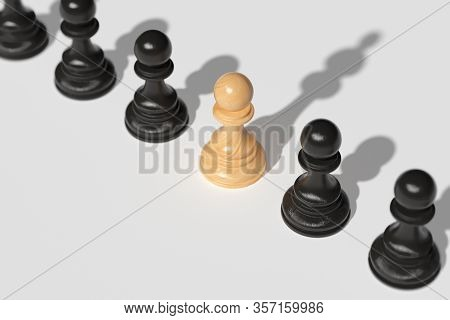 Leadership Concept . A Chess Pawn, Along With Other Pawns, Casts A Shadow Over The Queen. The Concep