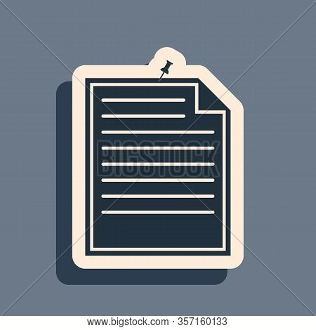 Black Note Paper With Pinned Pushbutton Icon Isolated On Grey Background. Memo Paper Sign. Long Shad