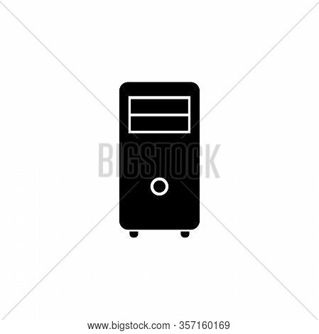 Computer Case Tower, Pc System Case. Flat Vector Icon Illustration. Simple Black Symbol On White Bac