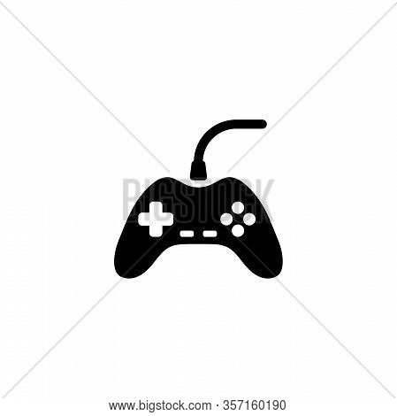 Game Controller, Gamepad, Joystick. Flat Vector Icon Illustration. Simple Black Symbol On White Back