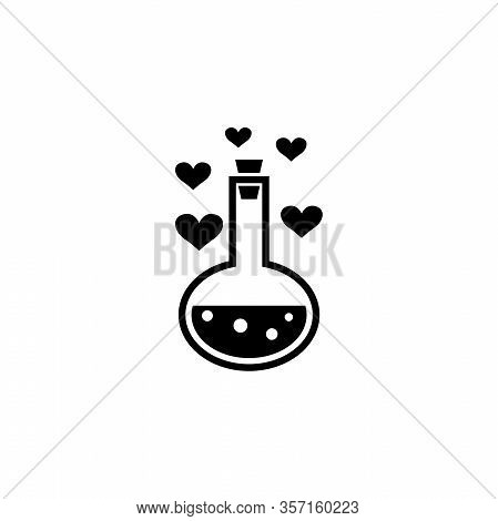 Love Potion Tube With Hearts Bubbles. Flat Vector Icon Illustration. Simple Black Symbol On White Ba