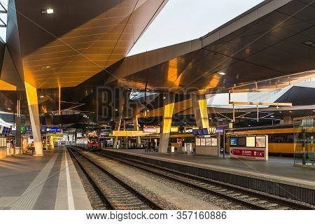 Vienna, Austria - April 17, 2019: The Platform On Main Railway Station Of Vienna (wien Hauptbahnhof)