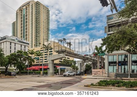 Miami, Fl, United States - April 19, 2019: Financial District Metromover Station In Miami, United St