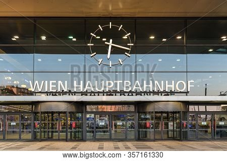 Vienna, Austria - April 17, 2019: The Main Entrance To The Wien Hauptbahnhof (hbf), The Main Railway
