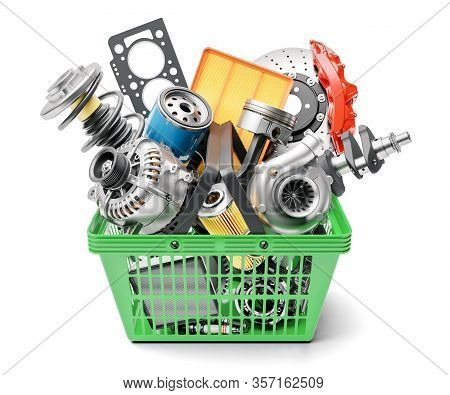 Car Spares Parts In Market Basket Isolated On White Background 3d