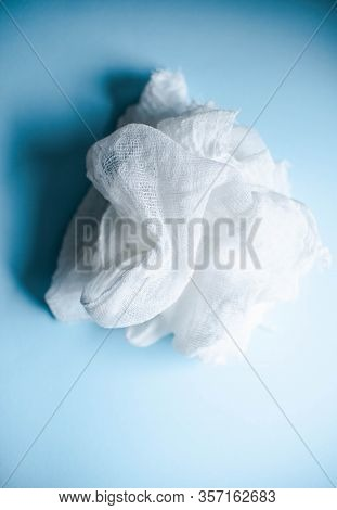 Gauze On A Blue Background Mashed To Create Homemade Medical Masks A Lot Of Medical Gauze Otirus For