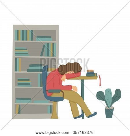 Young Woman Fell Asleep While Studing At The Desk. Female Person Sleeping Surrounded By Books In The