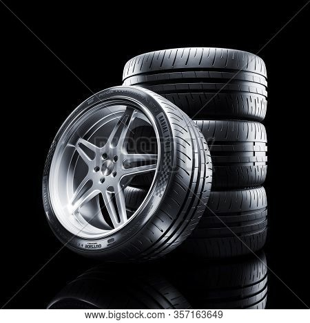 Car Wheel Isolated On Black Background 3d