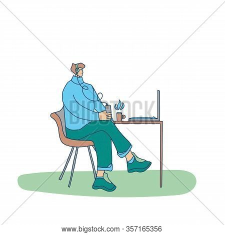 Leisure Concept. Young Man In Headphones Sitting In Chair At The Caffe And Listening A Music Or Audi