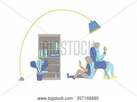 Two Characters Reading An Electronic Books. Female And Male Persons Using Their Phones. Vector Color