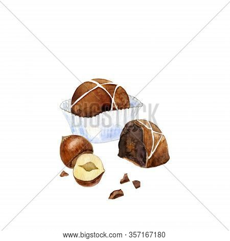 Milk Chocolate In Paper Cup And A Half Of Candy And Hazelnut. Belgian Candies Isolated On White. Wat