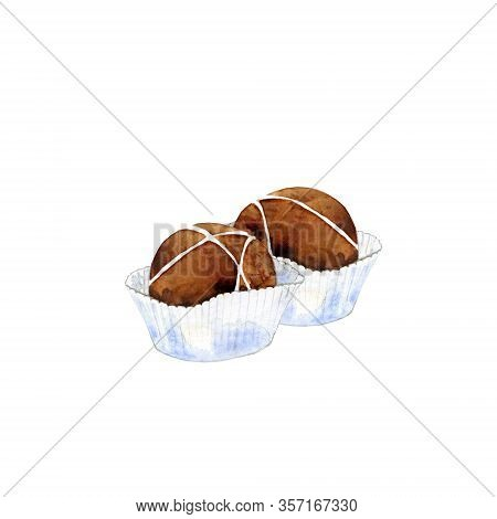 Milk Chocolate In Paper Cups. Cacao Candies Isolated On White. Watercolor Illustration Of Confection