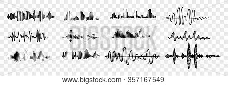Hand Drawn Sound Waves Set Collection. Pen Or Pencil Hand Drawn Various Black Sound Waves. Sketch Of