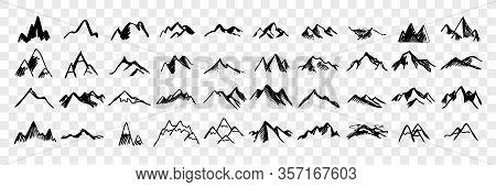 Sketch, Hand Drawn Mountain Peaks Set Collection. Scribbles. Pen, Pencil, Ink Hand Drawn Mountain Pe