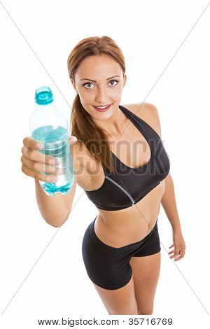 Beautiful Smiling Fitness Woman Holding Plastic Water Bottle