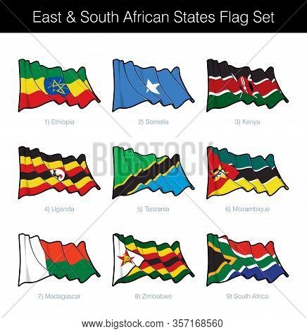 East And South African States Waving Flag Set. The Set Includes The Flags Of Ethiopia, Somalia, Keny