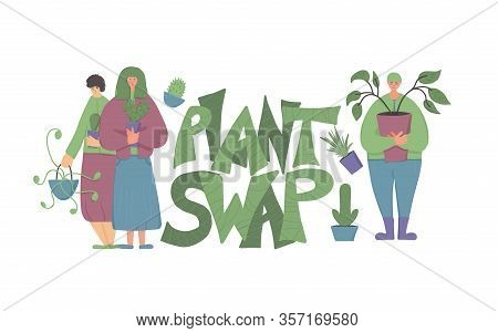Plant Swap Emblem. Share Indoor Plants Event. Stylized Text For Invitations. Group Of Florists Club