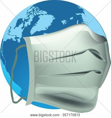 Planet Earth With Antivirus Mask Planet Earth With Antivirus Mask