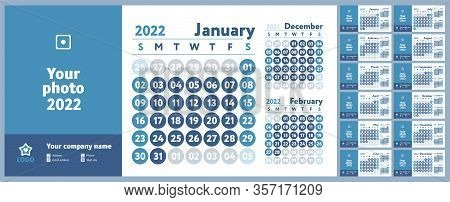 2022 Calendar. New Year Planner Design. English Calender. Blue Color Vector Template. Week Starts On