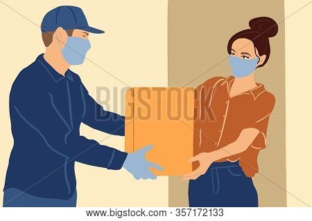 Illustration Of A Delivery Man In Medical Facial Mask And Gloves Delivering Parcel To A Young Woman