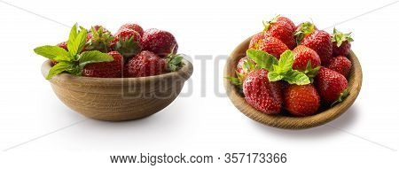 Strawberries In Bowl Isolated On White Background. Ripe Strawberries Close-up. Sweet And Juicy Berry