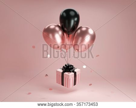 Flying Gift Box With Helium Shiny Balloons. Levitating Stripped Pastel Pink Present With Black Ballo