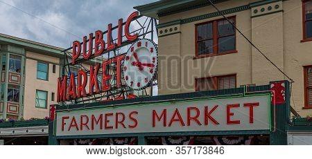 Seattle, Washington - June 5, 2019: Pike Place Market Is A Public Market Overlooking The Elliott Bay